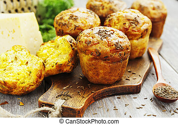 Cupcakes with cheese, dill and cumin - Homemade muffins with...