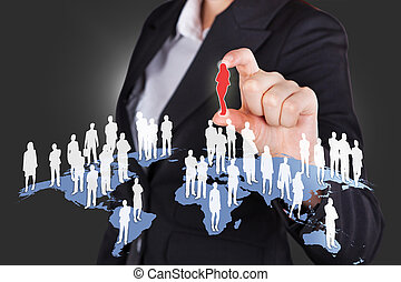 Businesswoman Selecting Candidate From All Over The World -...