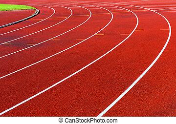 Curve of running tracks in athletics stadium