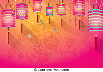 Abstract Chinese paper lanterns background with paper cut...