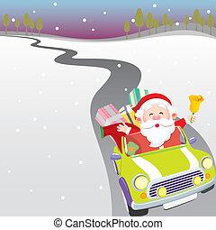 Santa driving car - Illustration - Santa driving car Royalty...
