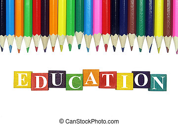 word education and colorful pencils
