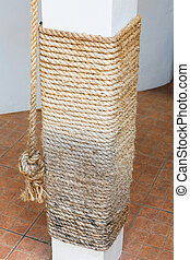 Cat scratching post from manila rope - Close up weathered...
