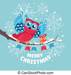 Christmas greeting card with owl vector illustration