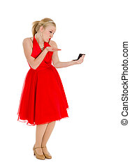 Conceited Girl in Red with Mirror - Old Fashioned Conceited...