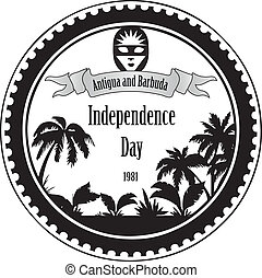 Independence Day Antigua and Barbuda - Stamp imprint...