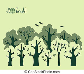 Abstract banner of green deciduous forest. Vector...
