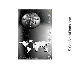 Compass Rose and world map - World map with compass rose,...