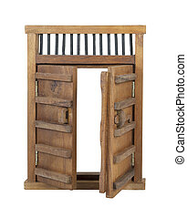 Wooden Castle Door with Wooden Bar UnLocked - Wooden castle...