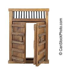 Wooden Castle Door with Wooden Bar UnLocked - Wooden castle...