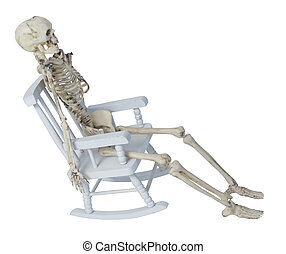 Skeleton in Rocking Chair - White skeleton in a rocking...