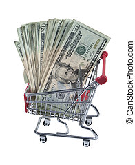 Shopping Cart Full of Money - Metal Shopping cart full of...