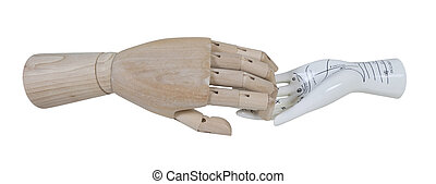 Wooden Hand and Palm Reading Model - A wooden hand with a...