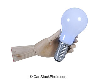 Wooden Hand Holding Lightbulb that displays light - path...
