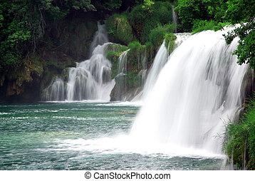 Waterfalls in Croatia - Landscape of a waterfall in Krka...