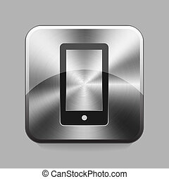 Chrome button - Mobile phone chrome or metal button or icon...