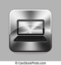 Chrome button - Laptop or notebook chrome or metal button or...