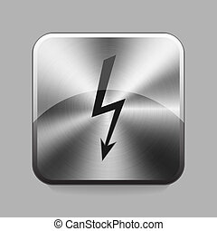 Chrome button - Lightning chrome or metal button or icon...
