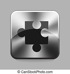 Chrome button - Puzzle chrome or metal button or icon vector...