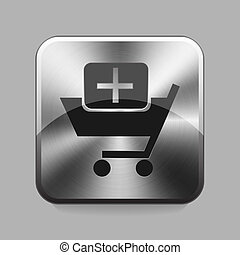 Chrome button - Bussines cart chrome or metal button or icon...
