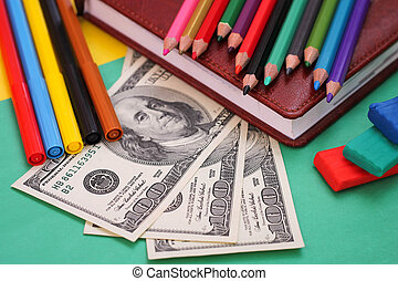 School stationery - Pens, colored pencils, plasticine, book,...