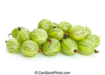 Green gooseberries isolated on the white background