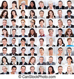 Collage Of Business People Smiling - Collage photo of...