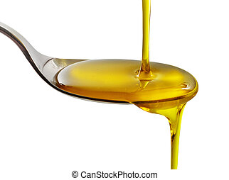 pouring cooking oil - cooking oil pouring into spoon on a...