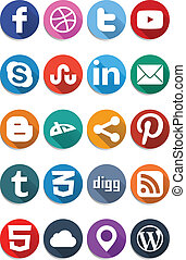 Social Flat Icons 10 - Package include 20twenty modern icons...
