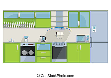 Green Kitchen on a white background - detailed illustration...