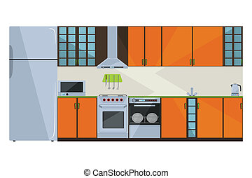 Orange kitchen - detailed illustration of a fully equipped...