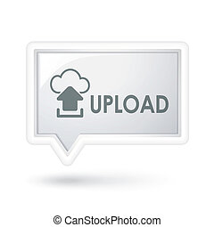 upload with cloud computing icon on a speech bubble
