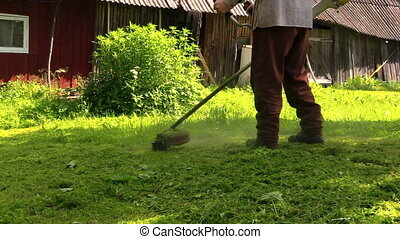 trimmer cut grass worker - gardener with workwear cut lush...
