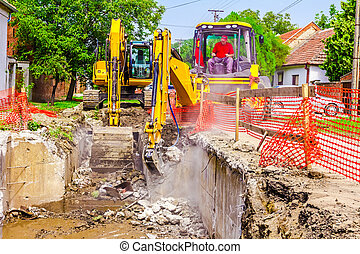 Jack hammer breaking, demolition - Yellow jackhammer is in...