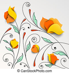 Floral background with paper flowers Vector illustration
