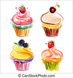 Cupcakes with cream and berries Vector illustration