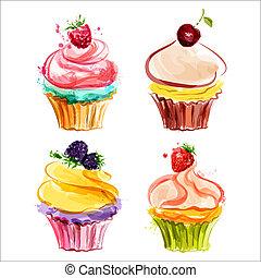 Cupcakes, crema, bayas
