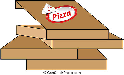 Pizza - Illustration of a cardboard pizza in boxes.