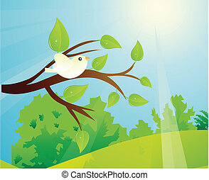 Bird On A Tree Branch And A Sunny D - Vector illustration of...