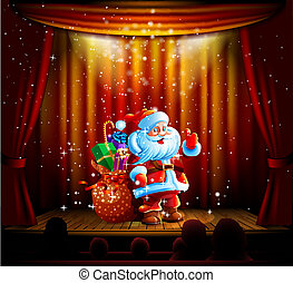 Santa Orator scena - Santa Claus standing on a stage and...