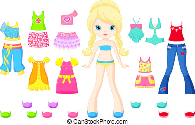 Paper doll with a set of summer clothes