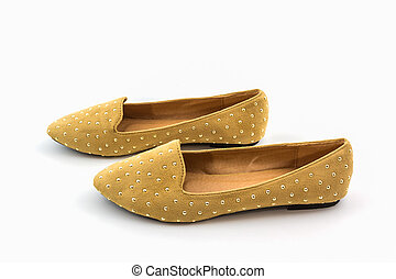 Brown flat shoes. - Brown flat shoes on white background.