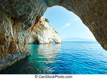 The Blue Caves in Zakynthos (Greece) - View of Blue Caves...