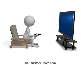 man in front of TV - abstract illustration white man in...