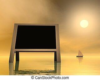 Sunset message - 3D render