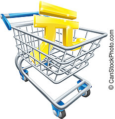 Yuan currency shopping cart - Yuan currency trolley concept...
