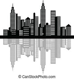 Night Time City With Shadow - Vector illustration of a night...