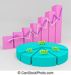 3d business chart showing growth