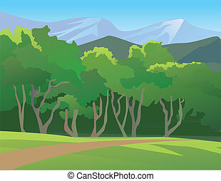 Forest Landscape With Mountain - Vector illustration of a...