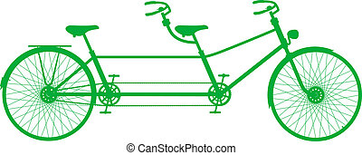 Retro tandem bicycle in green design on white background